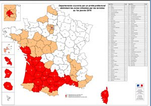 Carte infestation termites FINISTERE